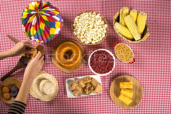 Tavola torta popcorn patate festival decorazione Foto d'archivio © paulovilela