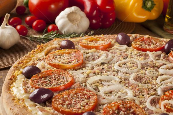 Tradicional italiano pizza ingredientes queso Foto stock © paulovilela