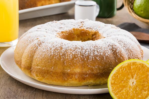 Arancione torta tavola frutti succo sfondo Foto d'archivio © paulovilela