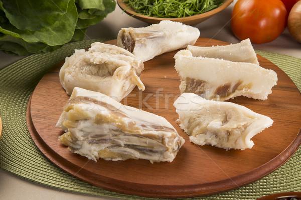 Stok fotoğraf: Domuz · ahşap · gıda · kırmızı · beyaz