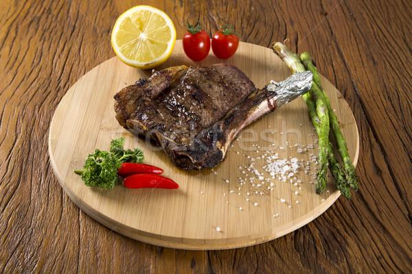 肉のグリル リブ 白 プレート トマト チャイブ ストックフォト © paulovilela