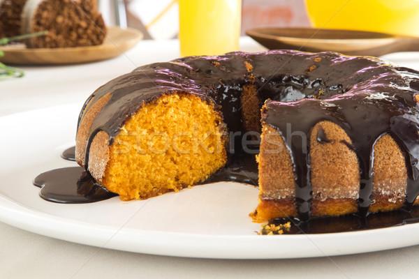 Répatorta csokoládé szelet asztal háttér torta Stock fotó © paulovilela