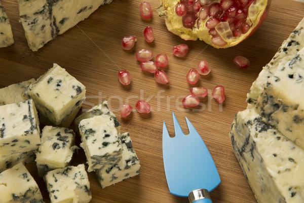 Queso azul delicioso alimentos fondo azul Foto stock © paulovilela