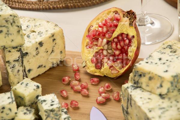 ブルーチーズ 木製 食品 背景 青 ストックフォト © paulovilela