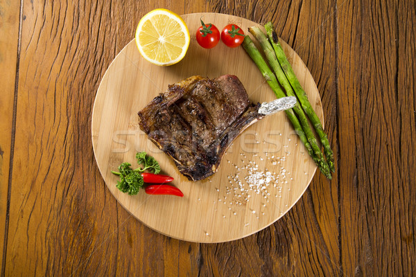 Grilled Meat Ribs On White Plate With Stock photo © paulovilela