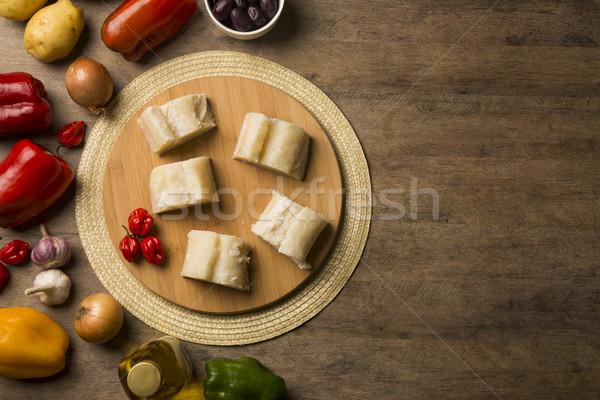 Sózott fa asztal hozzávalók hal nyers étel Stock fotó © paulovilela