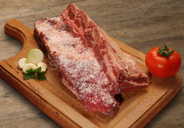 Surowy mięsa deska do krojenia rynku papieru Zdjęcia stock © paulovilela