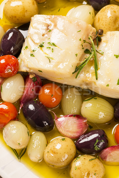 A typical Portuguese dish with codfish called Bacalhau do Porto. Stock photo © paulovilela