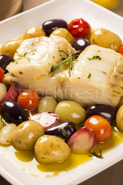 A typical Portuguese dish with codfish called Bacalhau do Porto. Stock photo © paulovilela