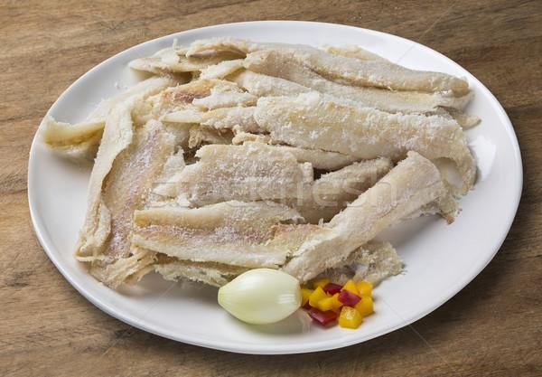 Sózott nyers étel hal egészség háttér Stock fotó © paulovilela