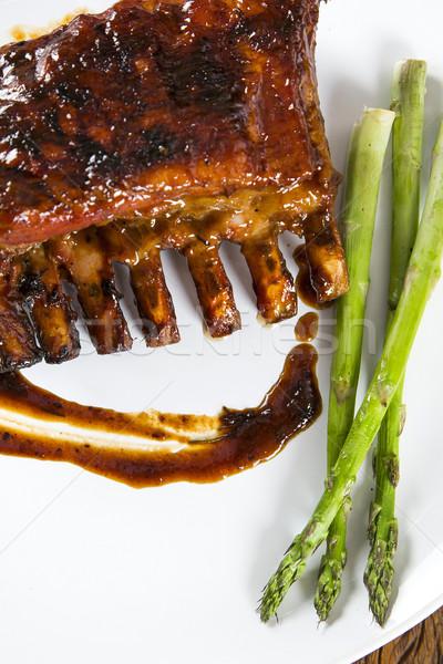 Foto stock: Saboroso · grelhado · costelas · legumes · conselho · saúde