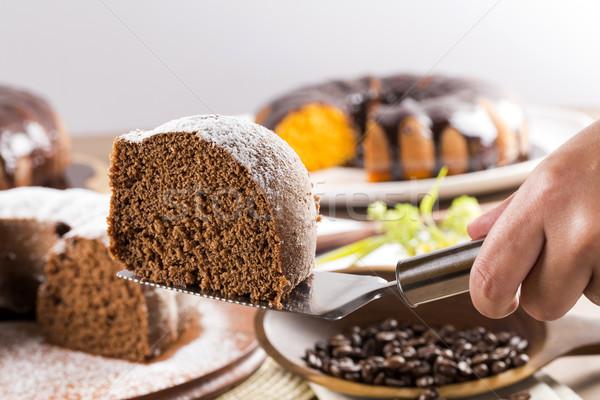 Tavola torta di carote torta bianco cottura Foto d'archivio © paulovilela