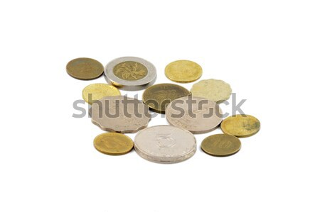 Geïsoleerd munten witte achtergrond groep goud Stockfoto © paulwongkwan