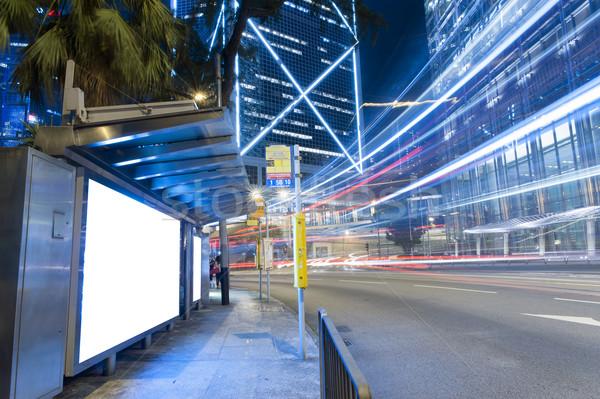 Lege billboard nacht groot stad licht Stockfoto © paulwongkwan