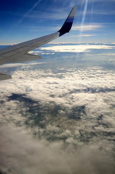 Vliegtuig vleugel Taiwan hemel zon Stockfoto © paulwongkwan