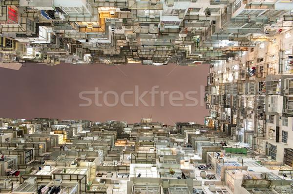 Zatłoczony Hongkong kolorowy budynku grupy działalności Zdjęcia stock © paulwongkwan