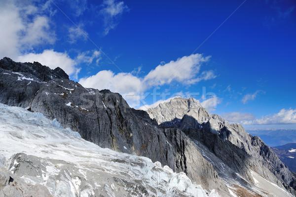Sneeuw berg hemel natuur landschap licht Stockfoto © paulwongkwan