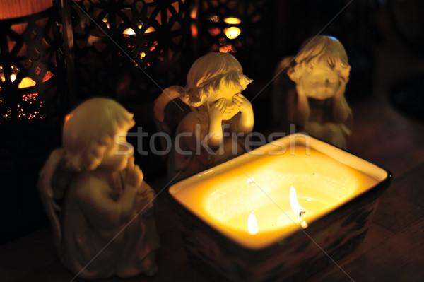 Drie engelen rond kaars vergadering boom Stockfoto © paulwongkwan