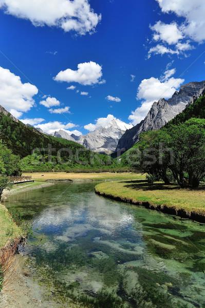 Tibet sneeuw berg rivier China hemel Stockfoto © paulwongkwan