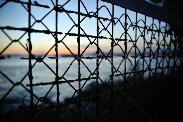 Sunset Behind wire Stock photo © paulwongkwan