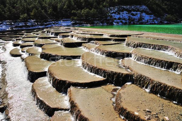 Water stap Blauw maan vallei sneeuw Stockfoto © paulwongkwan