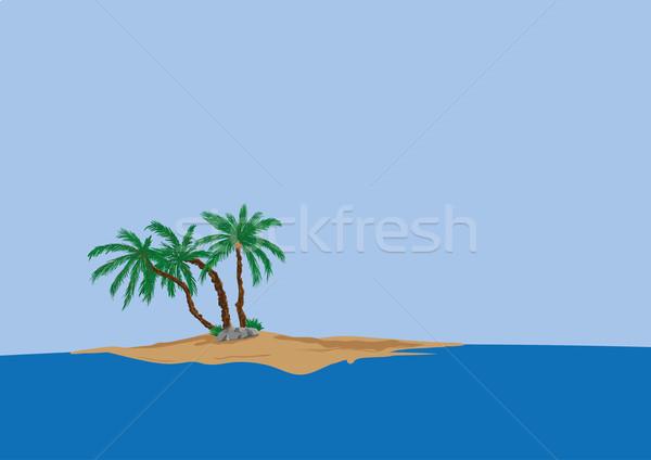 palm tree on sand island  Stock photo © pavelmidi