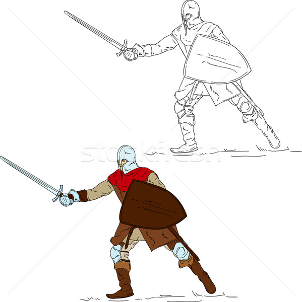 Stock photo: knight with sword