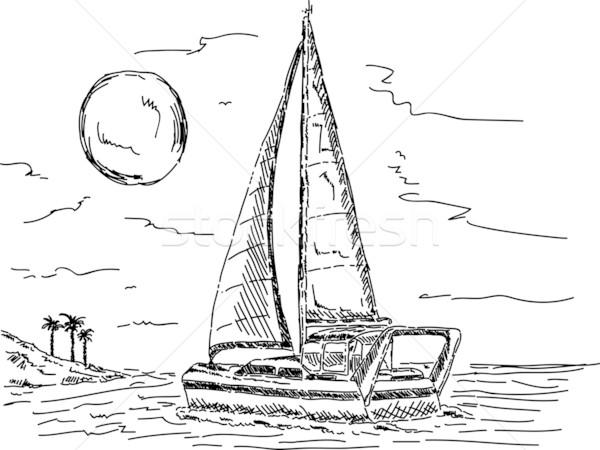 Segelboot Sonnenuntergang Vektor Insel Himmel Wasser Stock foto © pavelmidi