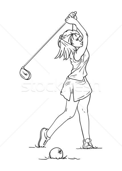 Mulheres jogador de golfe vetor cabelos longos golfe fitness Foto stock © pavelmidi