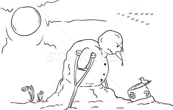 Bonhomme de neige printemps temps vecteur oiseau soleil Photo stock © pavelmidi