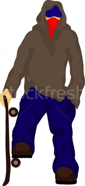 Gizlenmiş erkek vektör genç paten tahta Stok fotoğraf © pavelmidi