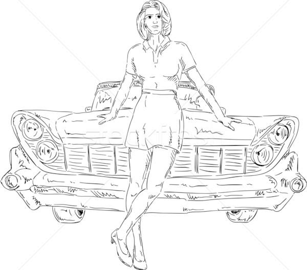 Kadın araba vektör eski araba kız Stok fotoğraf © pavelmidi