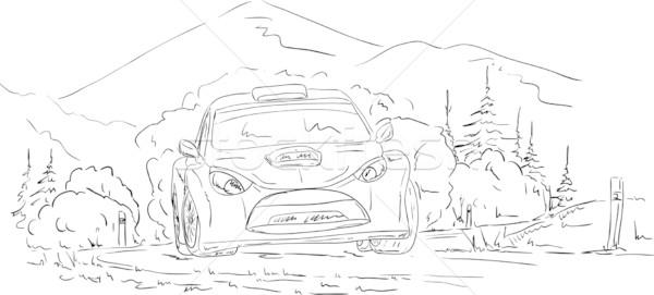 Rally auto vector weg hemel boom Stockfoto © pavelmidi