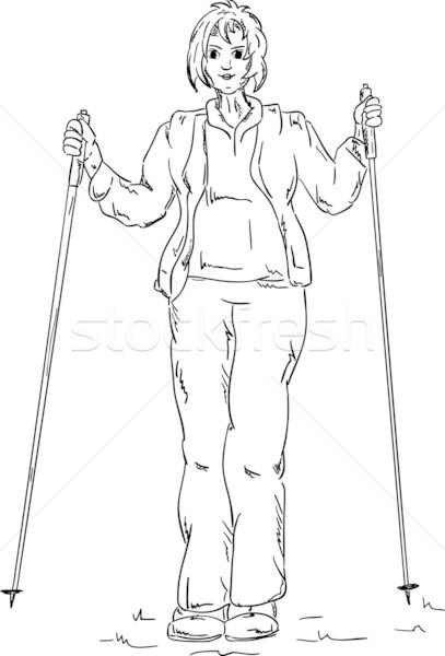 Nordic walking girl Stock photo © pavelmidi
