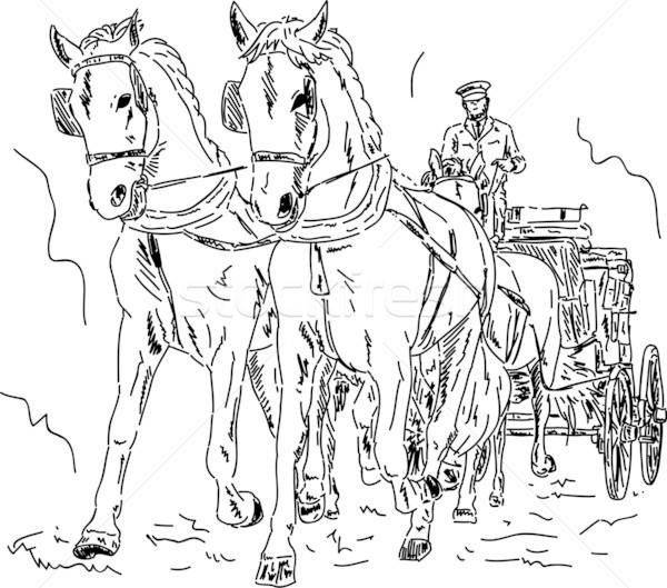 馬 キャリッジ ベクトル 手 描画 孤立した ストックフォト © pavelmidi