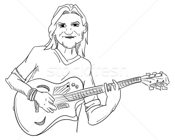 Chitarrista vettore giovane chitarra arte uomini Foto d'archivio © pavelmidi