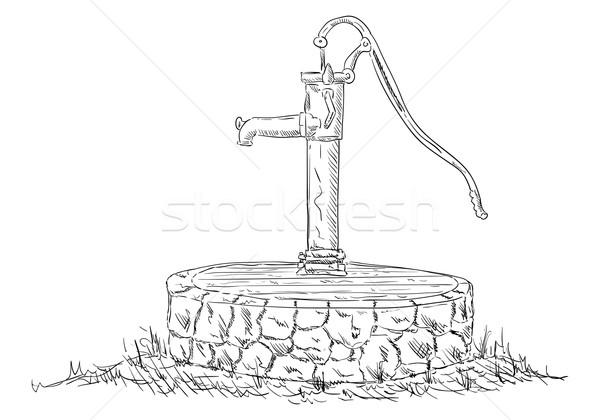 старые воды насос вектора искусства белый Сток-фото © pavelmidi
