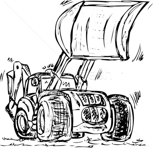 Grande vetor escavadora trator isolado construção Foto stock © pavelmidi