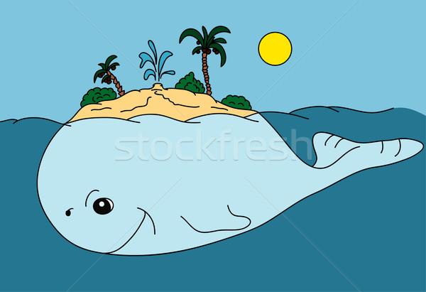 Ada vektör soyut büyük balina okyanus Stok fotoğraf © pavelmidi