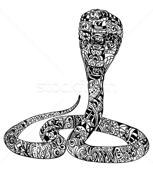 Serpente cobra vetor arte preto onda Foto stock © pavelmidi