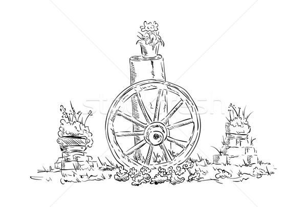Velho roda vetor natureza morta Foto stock © pavelmidi