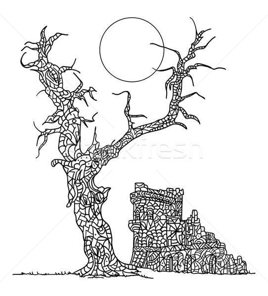 zentangle paintin  tree and Castle  Stock photo © pavelmidi