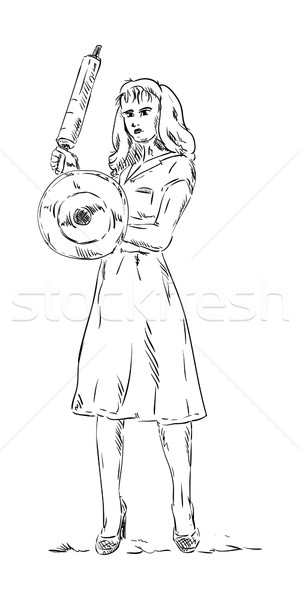 angry woman with rolling pin  Stock photo © pavelmidi