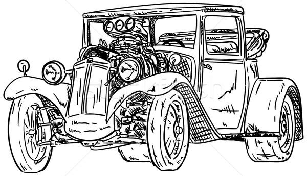 Voiture vecteur rétro grand moteur design Photo stock © pavelmidi