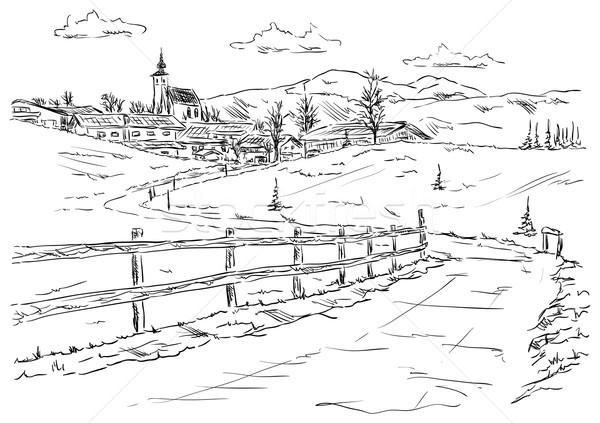 Vetor aldeia pé montanhas paisagem montanha Foto stock © pavelmidi