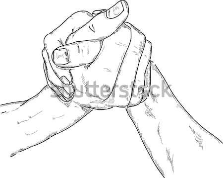 Arm worstelen vector geïsoleerd hand verf vrienden Stockfoto © pavelmidi