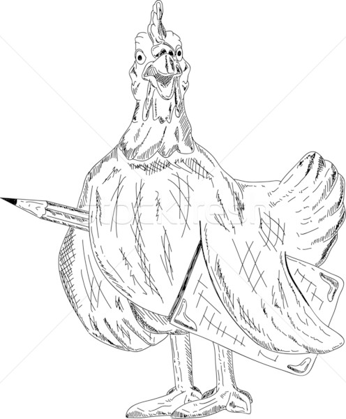 hen with pencil and book Stock photo © pavelmidi
