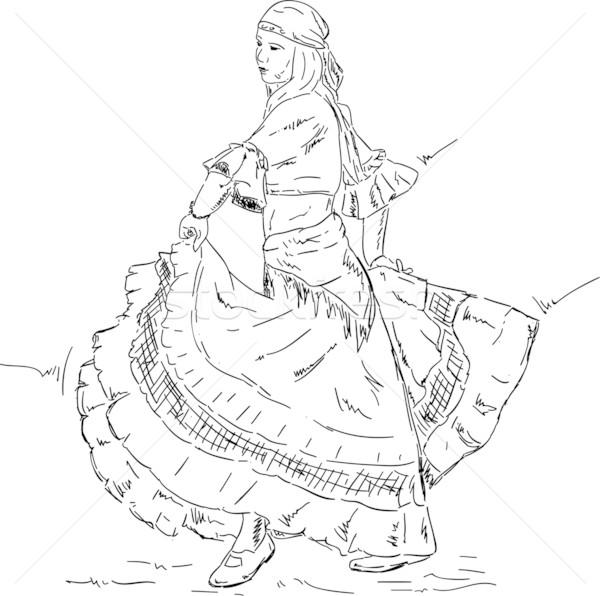 Nő flamenco táncos vektor történelmi ruha Stock fotó © pavelmidi
