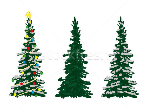 Drei Fichte Bäume Vektor Winter Zeit Stock foto © pavelmidi