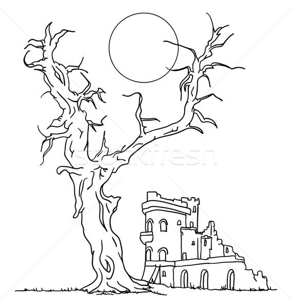 Arruinar castelo vetor grande velho árvore Foto stock © pavelmidi